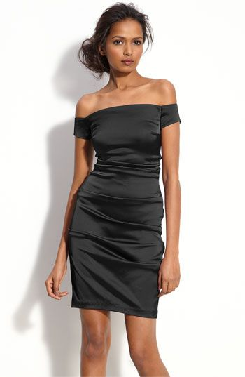 Betsy & Adam Off Shoulder Stretch Satin Sheath Dress available at #Nordstrom