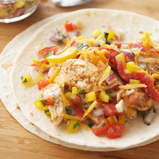 These Fajita-Ranch Chicken Wraps will satisfy your craving for Mexican food without the big price tag of eating out.  More healthy dinner recipes under three dollars: www.bhg.com/...