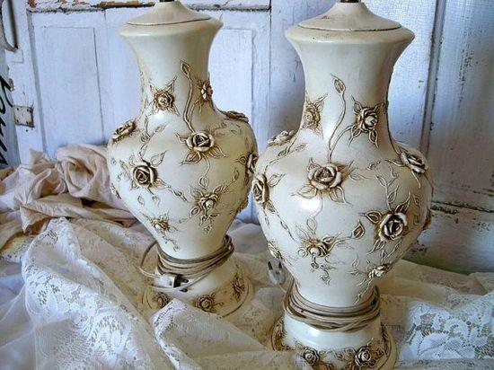 Vintage ivory lamp set romantic cottage rose by AnitaSperoDesign, $200.00