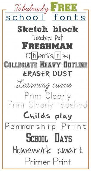 Fabulously free back to school fonts! #backtoschool