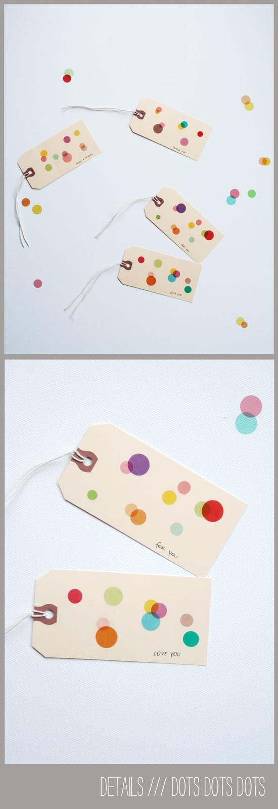 sticker dot gift tags from Tokketok