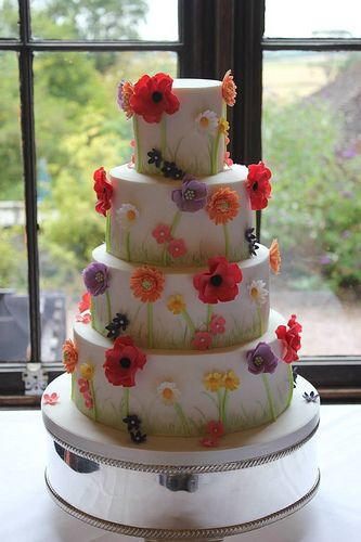 Summertime Flowers Wedding Cake.