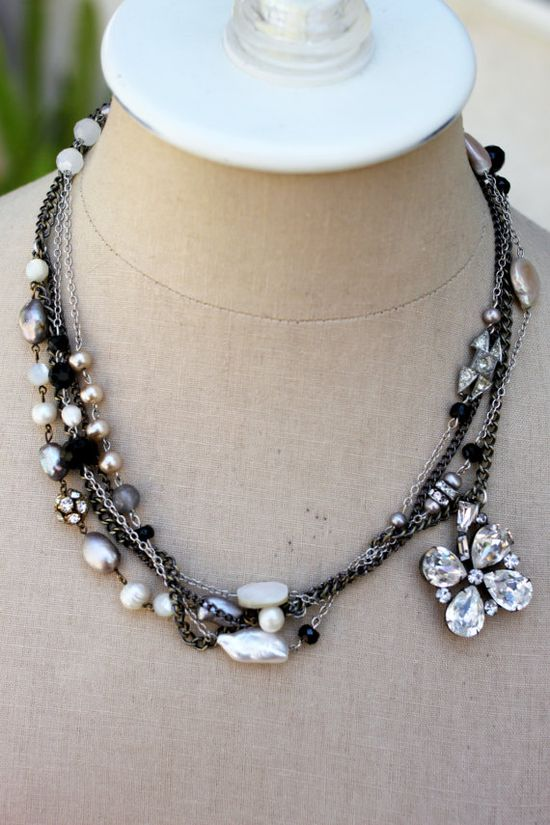 layered vintage rhinestone, pearl, gemstones and other sparkle