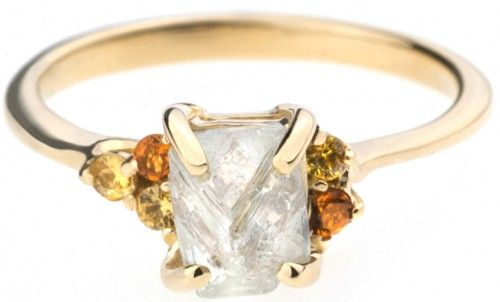 Asymmetrical Avens Ring with Rough Diamond