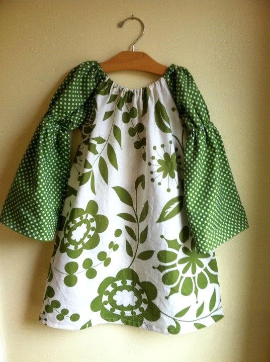 botanical green holiday peasant dress - baby toddler girl