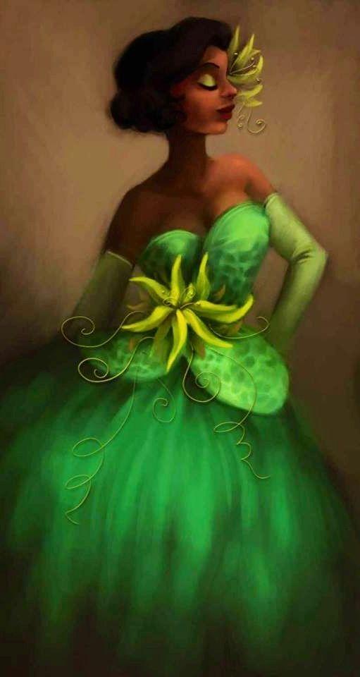 Princess and the Frog's Tiana cartoon illustration via www.Facebook.com/...
