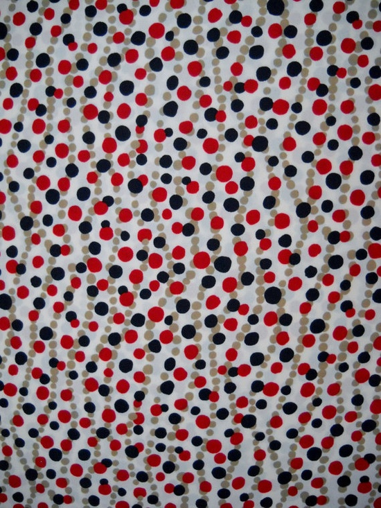 Vintage 1980s White Red Tan and Blue Dots Print Silky by LittleLov