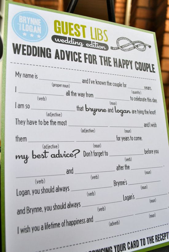 Madlibs for wedding guests.  Fun!