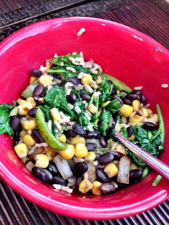 Salad from Team Taralynn's Madison!  beans, corn, onions, sugar snap peas and half a serving of rice