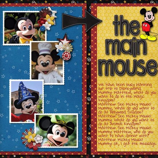 so cute Disney scrapbook page: Mickey Mouse layout
