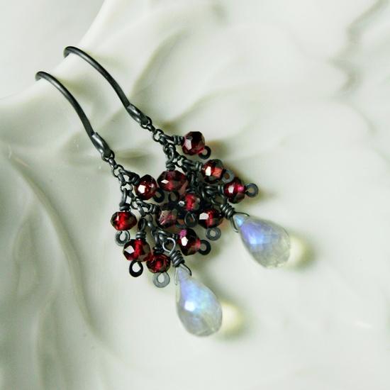 moonstone garnet earrings by whyzee on etsy