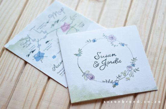 Soft romantic wedding invite - Susan Brand Design