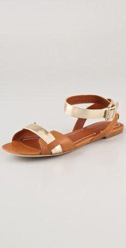 Paige Flat Metallic Sandals / Elizabeth and James  #sandals