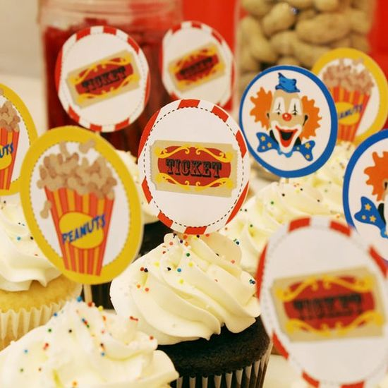 Circus/Carnival Party PRINTABLE/DIY Decorations, Cupcake Toppers, Napkins Rings, Water Labels $10.00