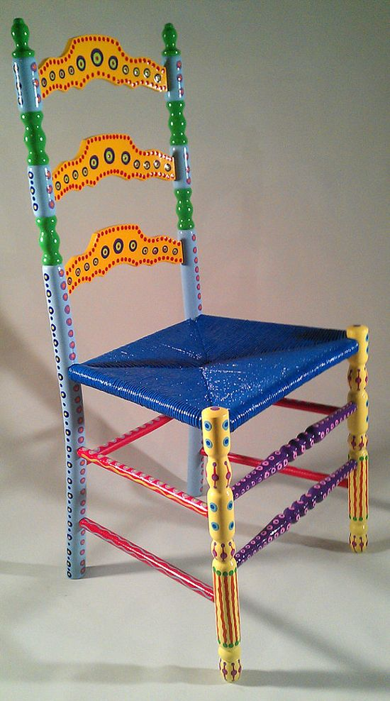 Hand Painted Furniture Colorful Crazy Ladder Back Chair via Etsy