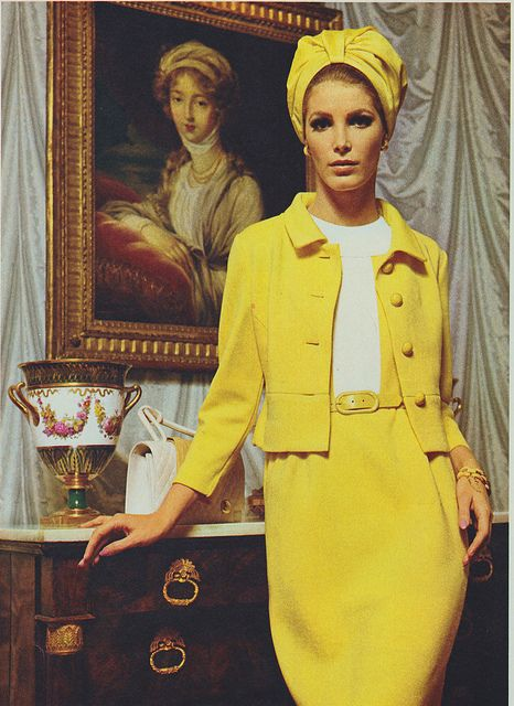 ? An instantly eye-catching yellow mid-1960s ensemble that would be perfectly at home on this year's season of Mad Men ?