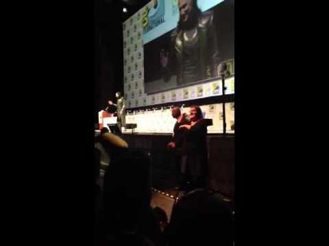 Tom Hiddleston as Loki, introducing Thor 2 clip at Comic Con 2013.  So incredibly, amazingly awesome and perfect!