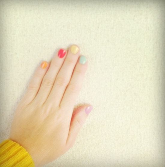 cute multi-colored nails
