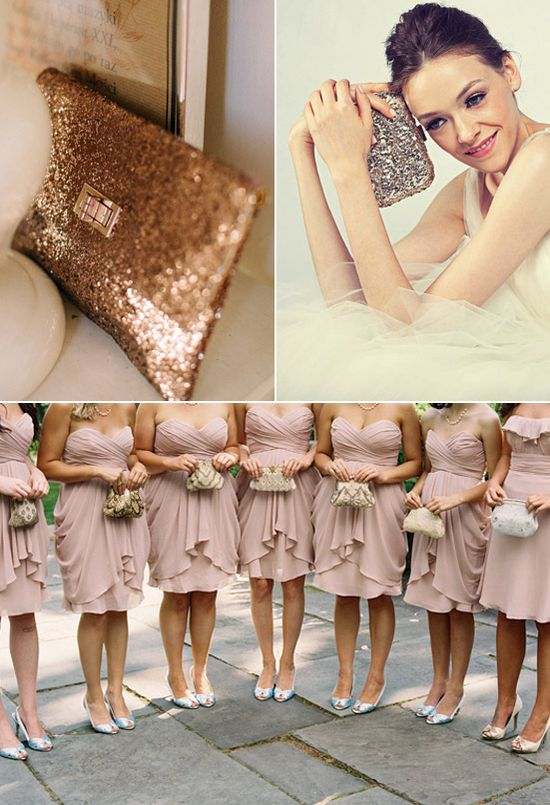 sequined clutches + blushing bridesmaids