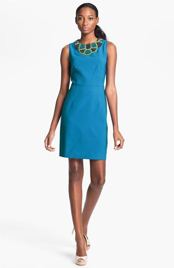 Taylor Dresses Beaded Neck Crepe Sheath Dress available at #Nordstrom