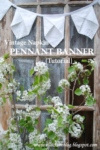 How to make a pennant banner out of vintage napkins!