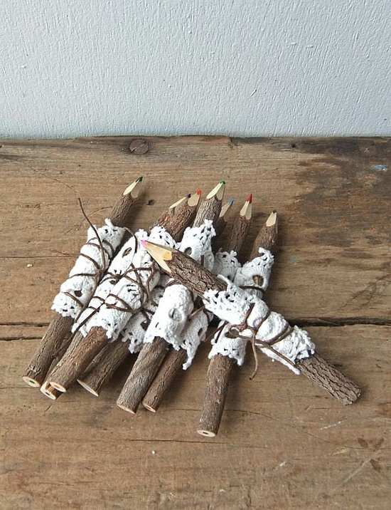 Twig Pencils with Vintage Doilies