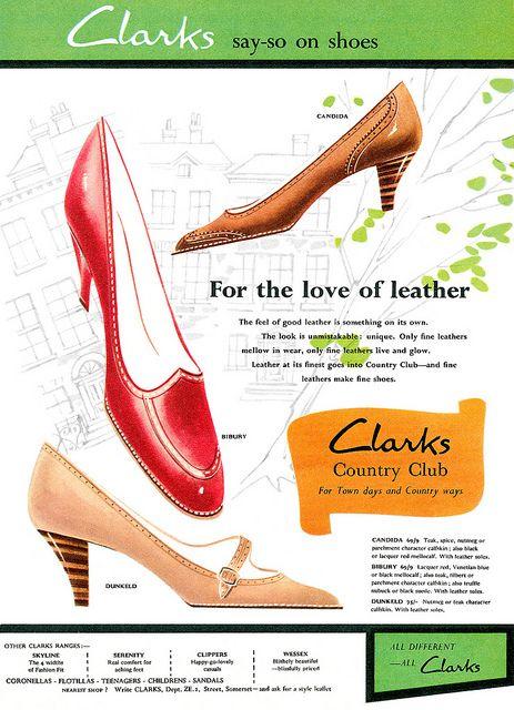 Clarks Shoes advertisement, 1959. #vintage #shoes #1950s #ads
