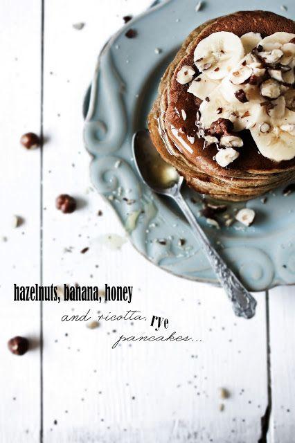 Hazelnut, banana, honey and ricotta rye pancakes