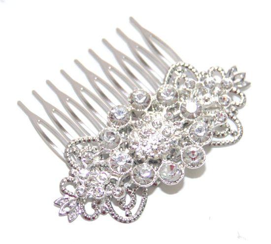 Leah - Wedding Hair Comb, Bridal Accessories, White, Rhinestones, Crystal, Swarovski, Czech crystal, Head Piece