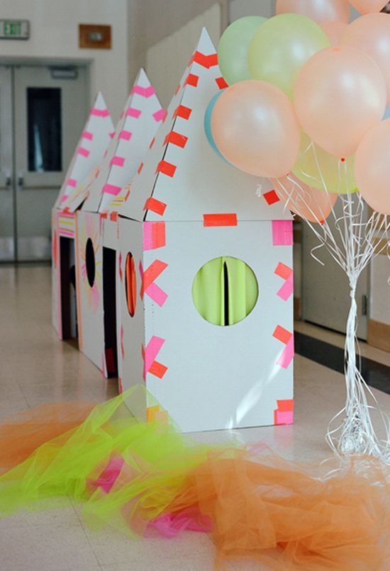 "cardboard & tape ""houses"" - kids birthday party -- I don't have kids, can I make this for myself? Ha!"