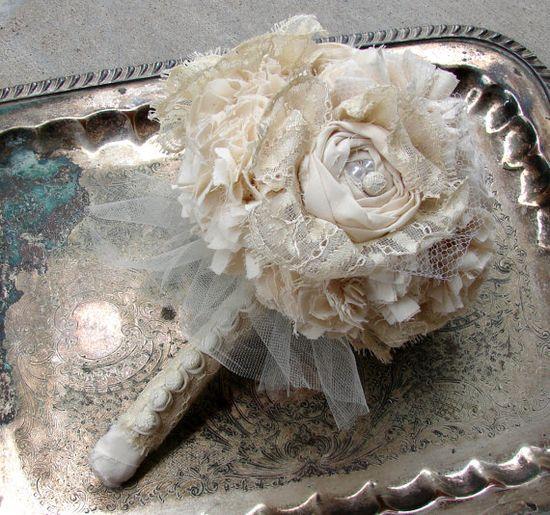 Fabric Bouquet - Handmade lace bouquet Fabric Flower Bouquet, Wedding, Vintage Wedding - Ivory lace flower bouquet. $150.00, via Etsy.