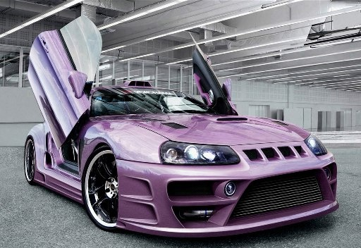 Purple custom sports car