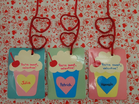 hand-made valentine cards with funky dollarama straws