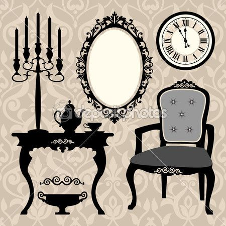 Set of antique furniture and objects