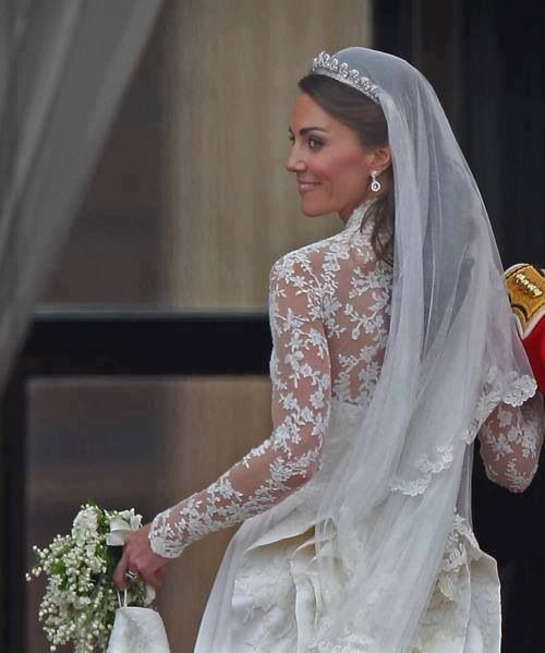 Catherine, Duchess of Cambridge, or Kate Middleton on her wedding day
