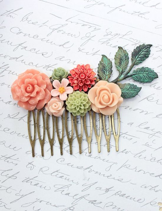 Flower Hair Comb Wedding Hair Accessories by apocketofposies