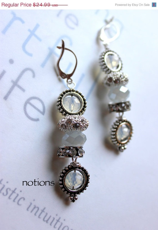 ON SALE For Eleanor notions opalite crystal pandora wire wrapped earrings. $19.99, via Etsy.