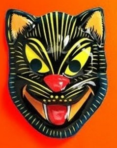 vintage Halloween black cat mask.