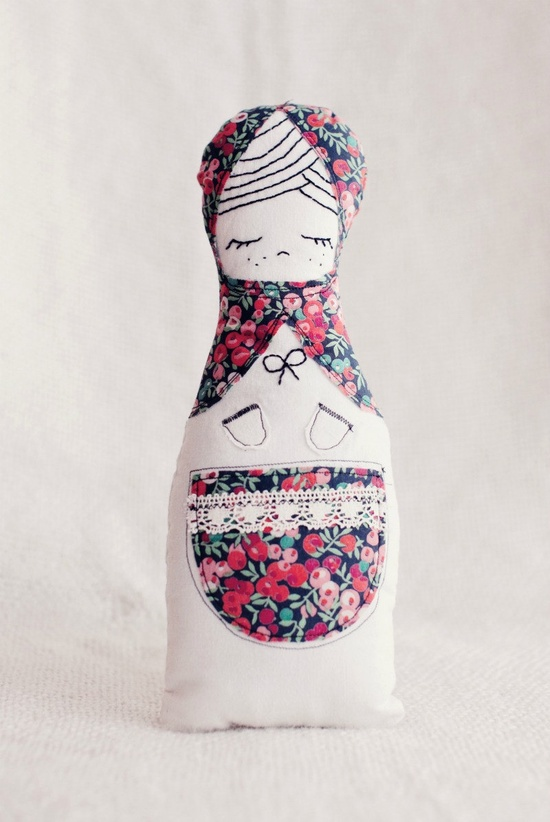 Russian inspired Matryoshka cloth doll - beautiful handmade softie cloth art doll with hand embroidery.