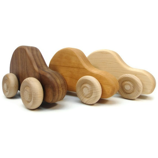 Organic Toy Car Set, 3 Wood Toy Cars, Fun Childrens Wood Toy. $18.00, via Etsy.
