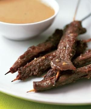 15-Minute Beef Satay With Peanut Sauce recipe