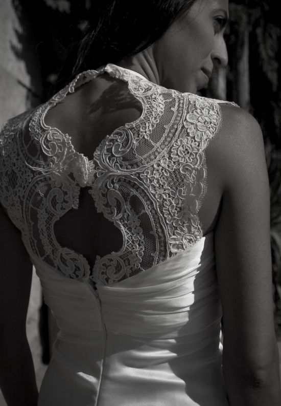 beautiful lace back - custom designed gown by dmarie couture