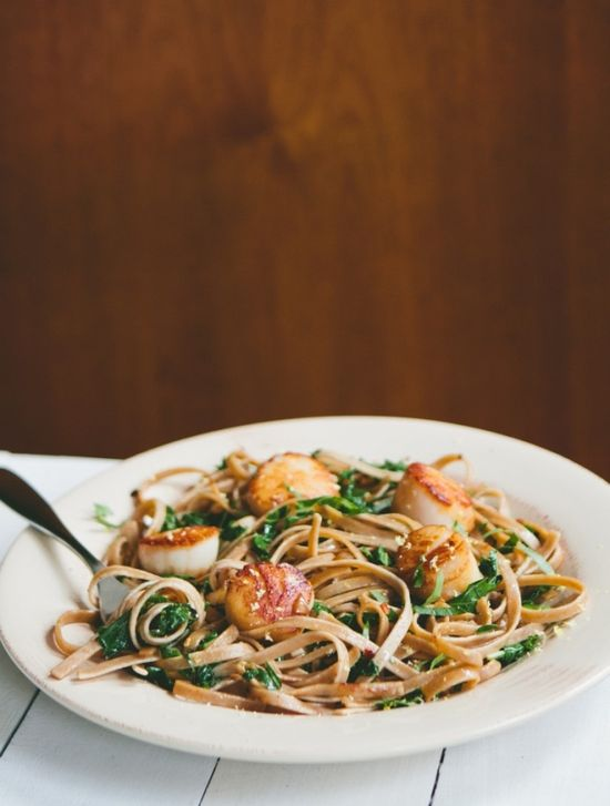 Seared Scallops with Fettuccine + Kale by a thoughtforfood #Scallops #Kale #Pasta