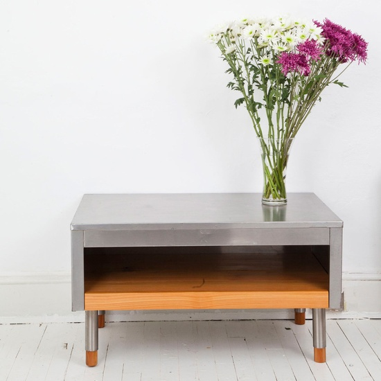 Stainless And Cedar Coffee Table  by Rough South Home
