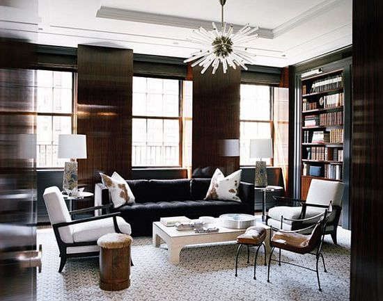 Black & White Living Room + Lucite Sputnik Chandelier