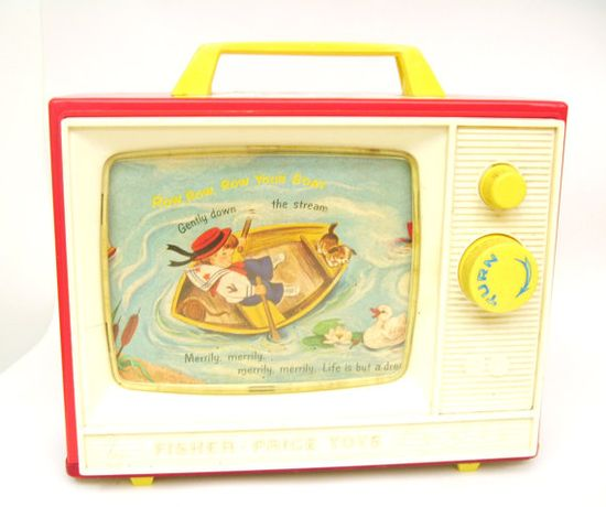 Vintage Fisher Price Two Tune Music Box TV.
