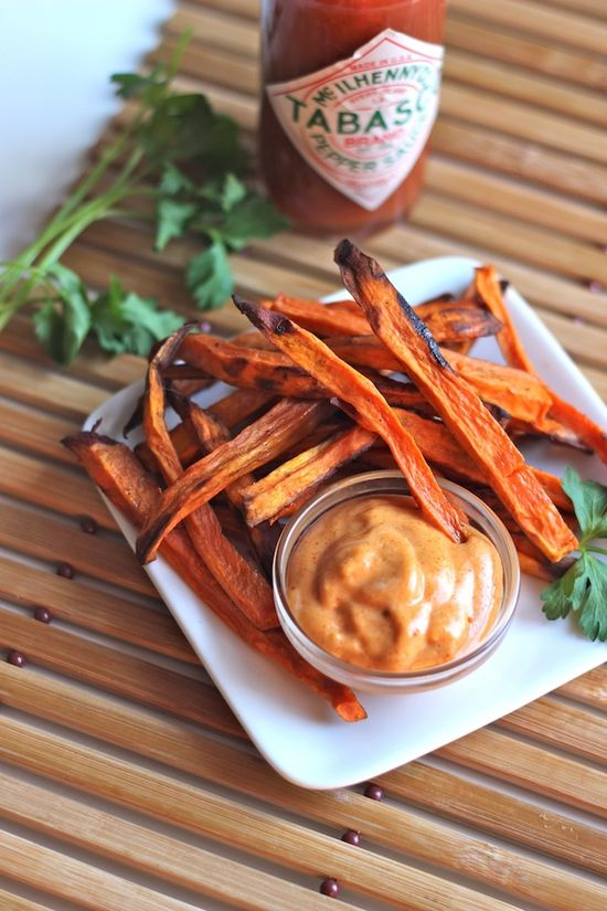 Roasted Sweet Potato Fries with Spicy Mayo - uses smoked paprika and a kick of hot sauce.