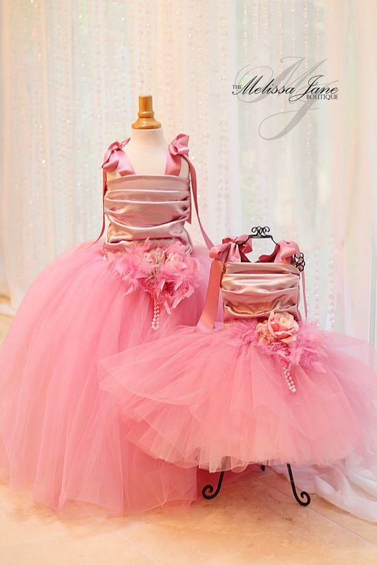 Dusty Rose Cinderella Flower Girl Dress by sharpsissors on Etsy, $210.00