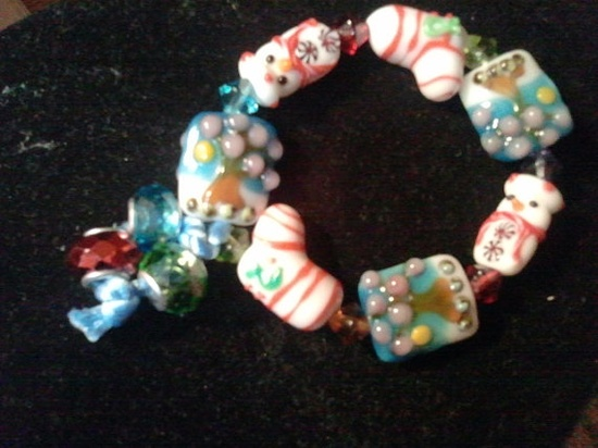 Christmas Stocking Snowman Mix Bracelet by URStyleJewelry on Etsy, $15.00