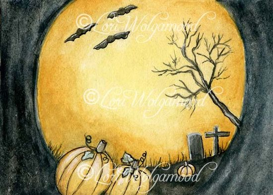 ACEO - Moonlit Pumpkins - Halloween Watercolor Painting - Vintage Nest Designs, Creative Handmade and Hand Painted Designs